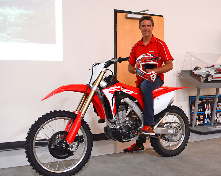 Honda off-road racing legend Johnny Campbell was on hand at Honda's museum to unveil the all-new 2017 CRF450RX, a machine based on the new CRF450R but intended for closed-course off-road use.