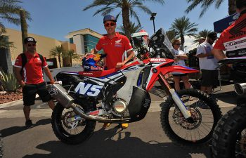 When Joan Barreda rolled his works CRF450 Rally through tech in Las Vegas, he'd never raced BITD or in America. Despite the obvious differences between American desert racing and international rallies, a fast rider is a fast rider and Barreda became only the second man to solo to the overall bike win at Vegas to Reno, the first being Quinn Cody in 2010. PHOTO BY MARK KARIYA.