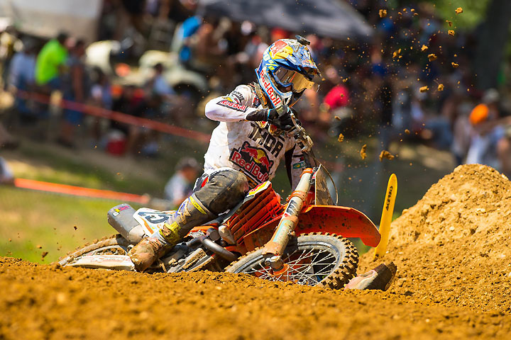 Marvin Musquin landed on the 450cc podium once again in his rookie season in the class, finishing third overall.