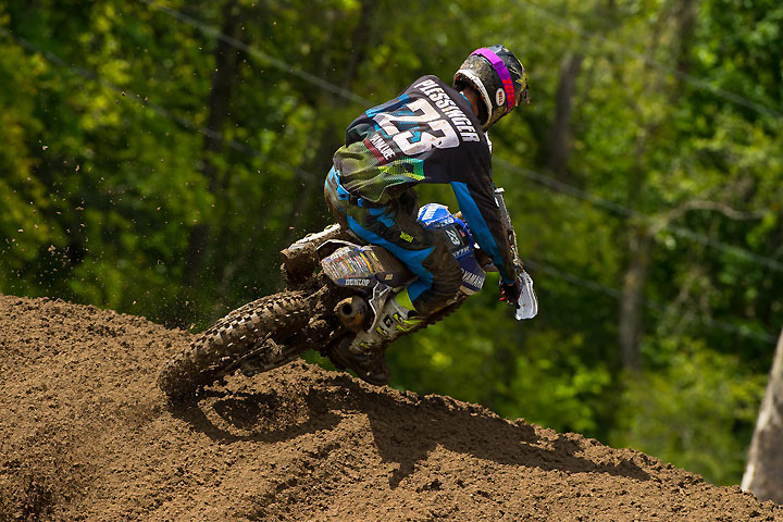 The defending Ironman National MX 250cc Champion, Aaron Plessinger scored a crucial moto win in Moto 2 to break a three-way tie for second overall. PHOTO BY RICH SHEPHERD.