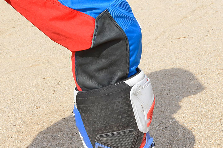 TLD uses natural leather on the insides of the knees to help resist cuts and abrasions where the rider's leg is most likely to rub the motorcycle.