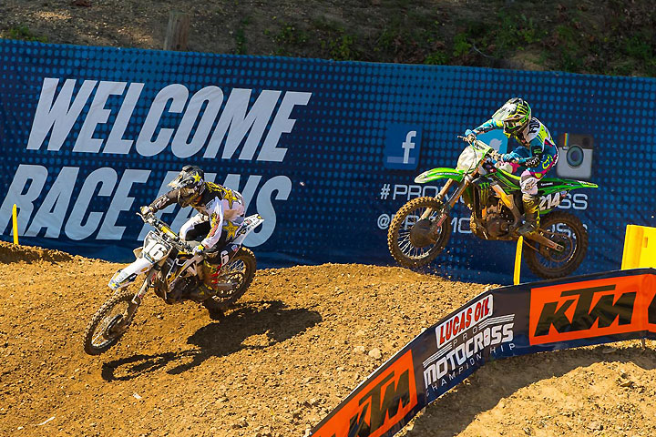 Osborne (left) battles with Austin Forkner (right) in Moto 2.