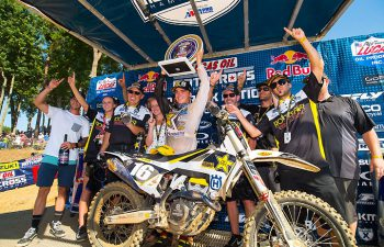 Zach Osborne and Rockstar Energy Husqvarna Factory Racing celebrated two firsts on the podium at the GEICO Motorcycle Budds Creek National MX. It was Osborne's first career Lucas Oil Pro Motocross overall win, and it was the first for the Husqvarna brand in the 250cc series. PHOTO BY RICH SHEPHERD.