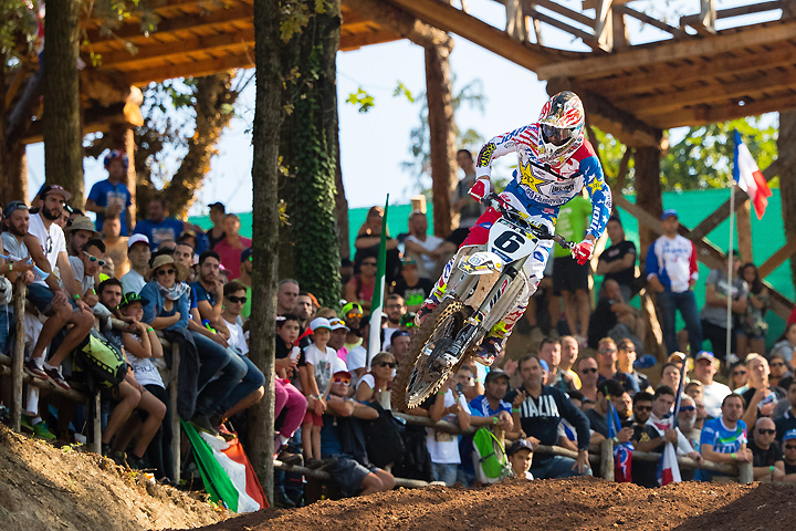 Jason Anderson vaulted Team USA with a win in Race 2, only to fall victim to a bizarre incident where he was landed on by another rider after finishing the moto. Concussed, Anderson could not race in the final moto, ending Team USA's bid for the MXoN title. PHOTO BY JEFF KARDAS.