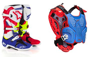 Alpinestars LE 'Nations' Tech 10 boots and LE 'Nations A-1 Roost Guard.