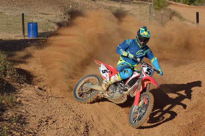 The 2017 CRF450R's engine packs a lot of punch from the moment you crack the throttle and pulls hard all the way to redline.