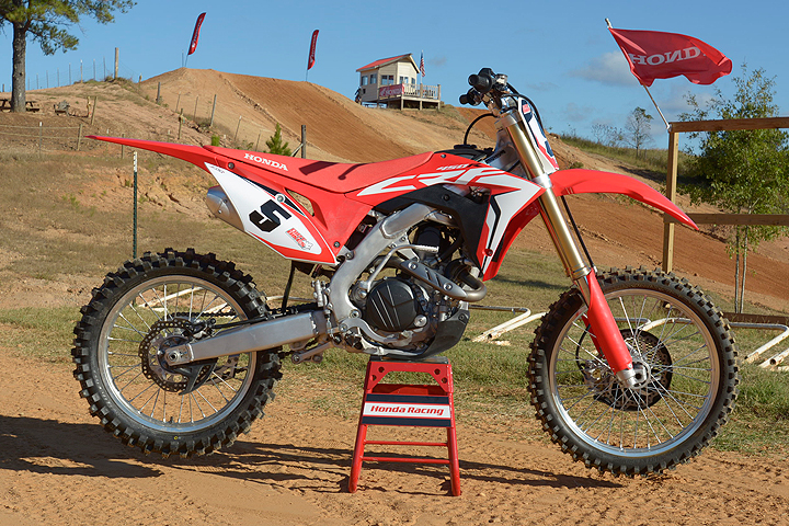 Our introduction to the 2017 Honda CRF450R took place at the beautifully groomed Monster Mountain MX Park near Montgomery, Alabama.