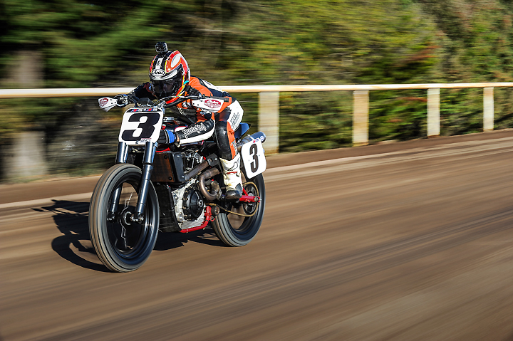 Seven-time AMA Flat Track Champion Chris Carr tested the new Indian Scout FTR750 at the Santa Rosa Mile, proclaiming the all-new machine to be a serious contender for the 2017 American Flat Track Championship. PHOTO BY BARRY HATHAWAY.