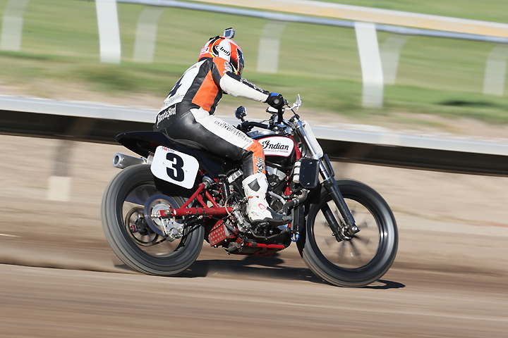 """Carr noted that the Indian's chassis is also dialed-in. It offers more of a """"sit on"""" feel rather than the """"sit in"""" feel of most Harley-Davidson XR750 chassis. PHOTO BY BRIAN J. NELSON."""