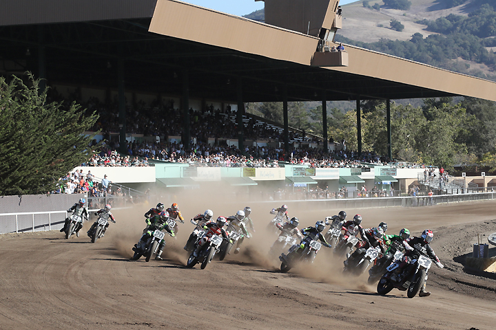 Former AMA Pro Flat Track Champion Joe Kopp (3) debuted the Indian Scout FTR750 at the season-ending Santa Rosa Mile on September 25. Kopp not only made the main event, he sat on the pole and led the first lap before finishing seventh. PHOTO BY BRIAN J. NELSON.