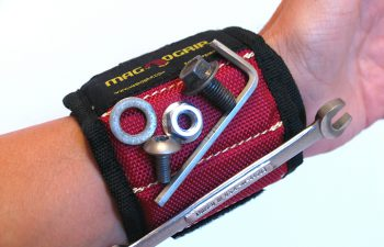 Magnogrip's magnetic wristband is strong enough to hold nuts, bolts and even wrenches to help keep your dirtbike maintenance chores organized.