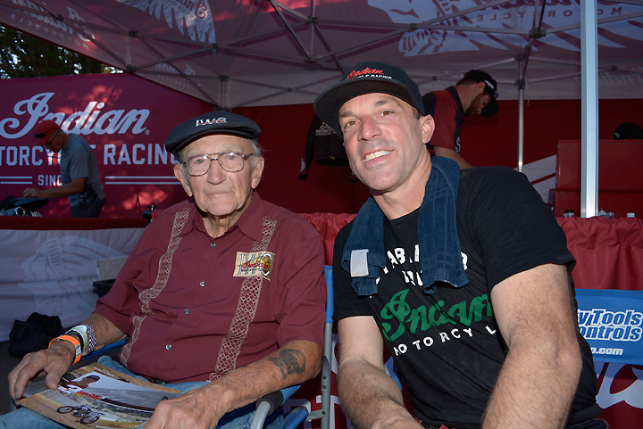 Joe Kopp (right) sits with 1953 AMA National Champion Bill Tuman (left), the last man to give Indian a national title. Tuman was on hand to watch the Indian Scout FTR750, and he has given it his blessing. PHOTO BY SCOTT ROUSSEAU.