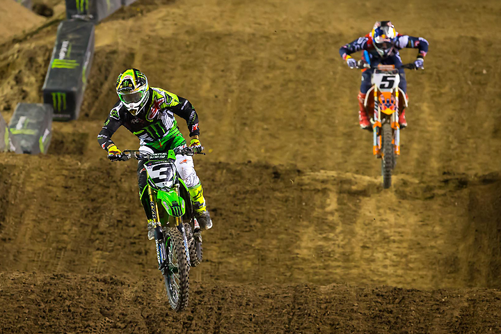 Eli Tomac (3) scored one main event win and landed the 2016 Monster Energy Cup by one point over Ryan Dungey (5) at Sam Boyd Stadium in Las Vegas. PHOTO BY RICH SHEPHERD.