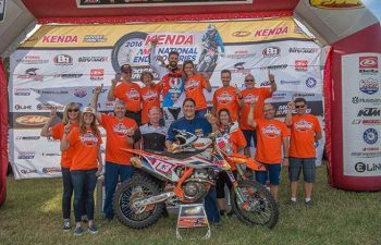 Russell Bobbitt and crew celebrate Bobbitt's fifth career AMA National Enduro Championship crown at the Zink Ranch National Enduro. PHOTO COURTESY OF KTM SPORTMOTORCYCLE.