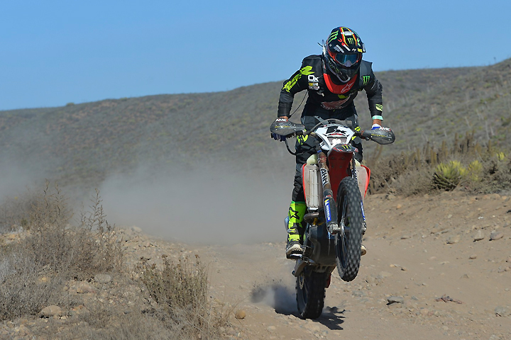 Justin Jones leads the way about 160 miles into the 2016 SCORE Baja 1000 as he heads south along the Pacific coastline. He and the rest of the team (put together at the last minute after team captain and Rider of Record Colton Udall broke his collarbone three nights before the race while pre-running) managed to come out on top of a heated battle for first to win the race and the series championship. PHOTO BY MARK KARIYA.