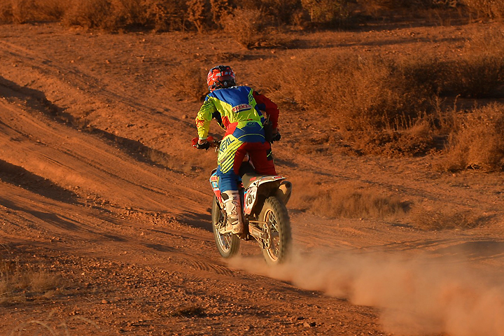 Less than two minutes behind 1X at this point 480 miles into the 2016 SCORE Baja 1000, Max Eddy, Jr., and the rest of the 45X team kept plugging away and flirting with the lead all day. Just after riding into first place while 1X pitted for lights and a full service, however, 45X lost the stator and any chance of winning. The crew managed to get it fixed and hold onto third. PHOTO BY MARK KARIYA.