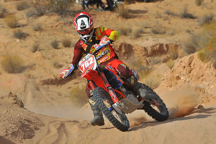 Axel Pearson put his rare good start to good use, leading almost the entire Moapa Valley Off-Road Roundup for his second Kenda/SRT AMA West Hare Scrambles Regional Championship win of the season and third of his career. It also bumped him from fifth to third in final series points. PHOTO BY MARK KARIYA.