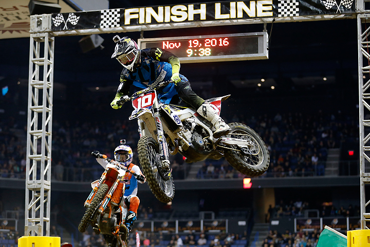 Haaker (right) battled with 2015 AMA EnduroCross Champion Cody Webb (left) in the Ontario main event just as he did all season. Webb won the main, but Haaker clinched the title. PHOTO COURTESY OF HUSQVARNA MOTORCYCLES GmbH.