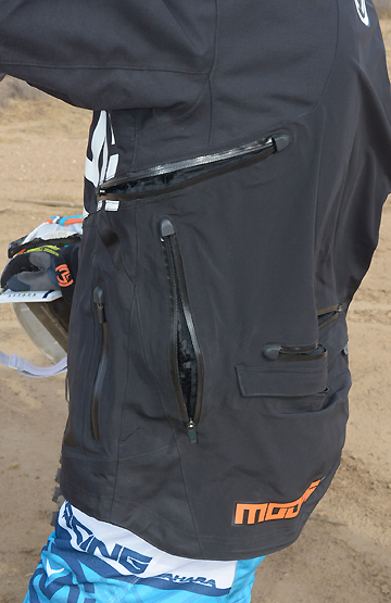 The XCR offers plenty of ventilation, with seven well-placed zippers to allow air to pass through the jacket's dual-layer, waterproof/windproof fabric.