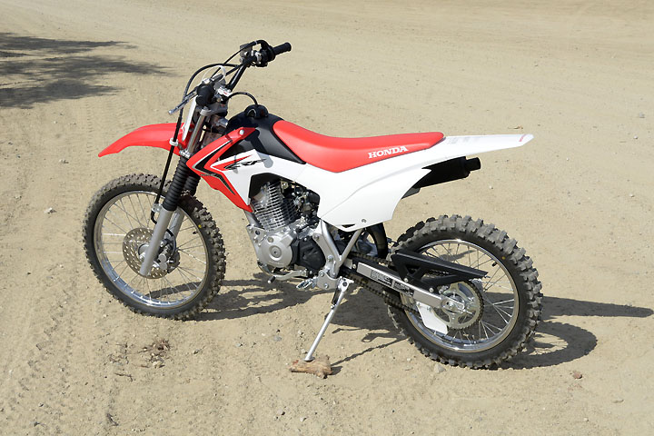 There are lot of decent-sized machines that can be used by adults and kids alike when learning to ride. Honda's CRF125F makes an excellent learning platform.
