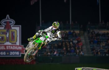 Monster Energy/Pro Circuit/Kawasaki's Justin Hill scored his first 250SX West main event win of the season at the Anaheim II Supercross. PHOTO BY RAS PHOTO.