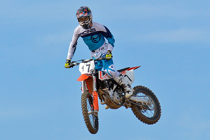 The KTM feels light and airy in flight. Our test bike weighed 226 lbs. fully fueled.