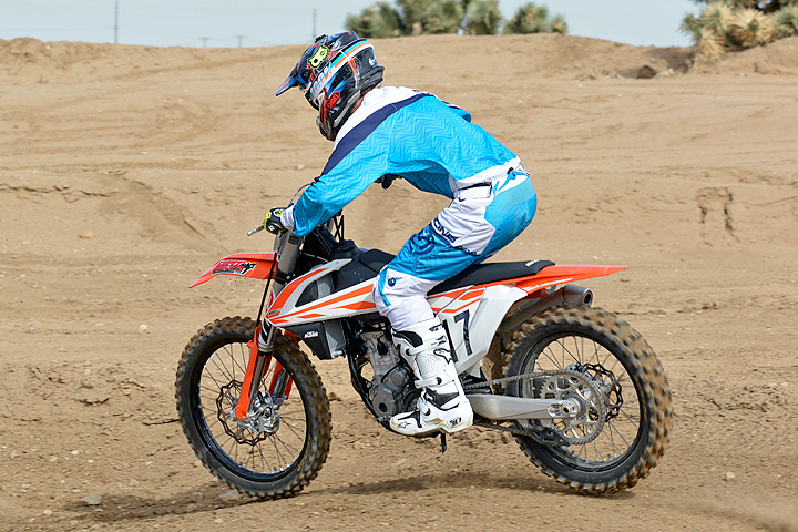 The 250 SX-F's suspension is easy to tune and can soak up small ripples and large hits with equal competence.