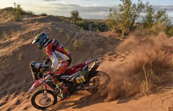 Joan Barreda raced to his fourth stage win during Stage 11 of the 2017 Dakar Rally. The Spanish rider is in fifth place overall. If not for the 1-hour time penalty incurred by the entire Monster Energy Honda team after Stage 4, Barreda would have a healthy overall lead. PHOTO COURTESY OF TEAM HRC.