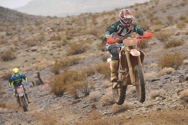 A few miles after the bomb, eventual winner Ricky Brabec leads eventual third-placer Gary Sutherlin at the Desert Motorcycle Club 50th Annual Winter Classic National Hare & Hound. Dust wasn't a factor after rain in the days leading up to as well as during the race. PHOTO BY MARK KARIYA.