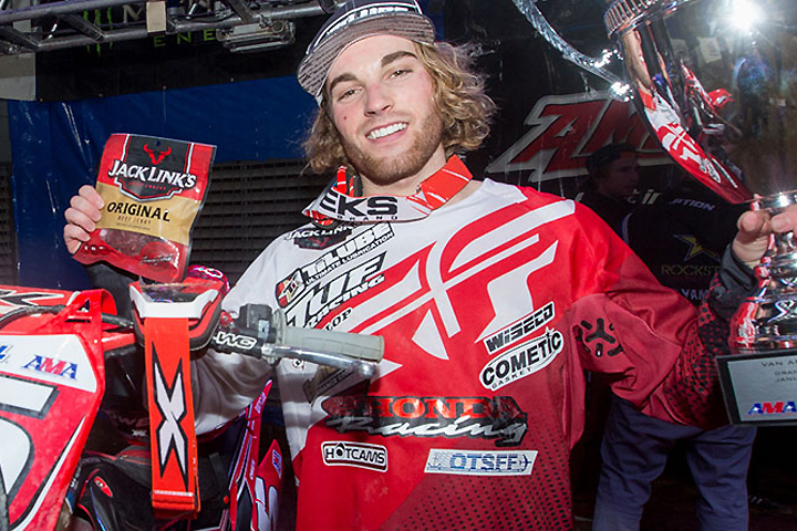 Jace Owen went undefeated in both 250AX main events at Van Andel Arena, round two of the 2017 AMSOIL Arenacross Series. PHOTO COURTESY OF ARENACROSS.COM.