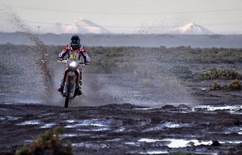 Joan Barreda became the first rider to win more than one stage of the 2017 Dakar Rally by winning a sloppy Stage 8 in Bolivia, Tuesday. PHOTO COURTESY OF TEAM HRC.