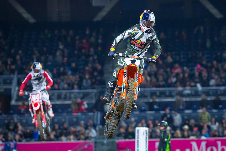 Ryan Dungey (1) led six laps of the main event before Roczen (94) was able to pass him for the lead. Dungey then pressured Roczen for most of the rest of the way before finishing second and landing his 90th career podium result. PHOTO BY RAS PHOTO.