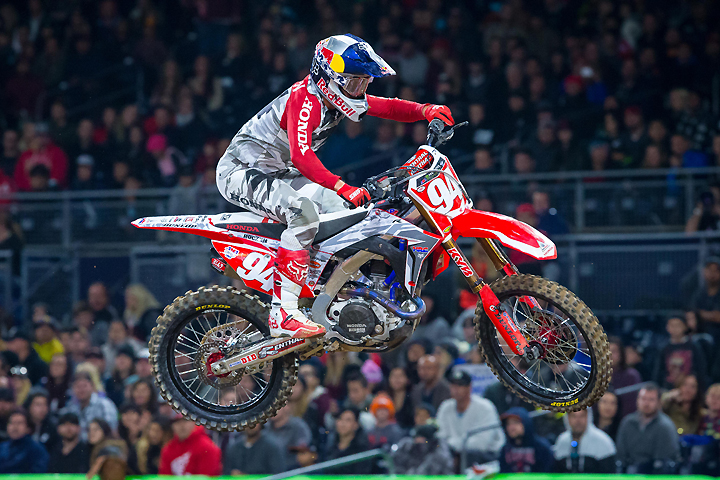 Ken Roczen made it two wins in the first two rounds of the 2017 Monster Energy AMA Supercross Series when he won the main event at Petco Park in San Diego, California, Saturday night. PHOTO BY RAS PHOTO.