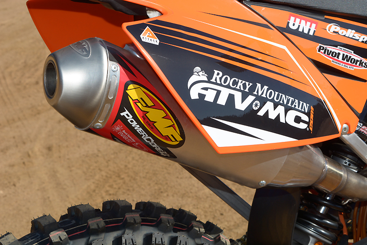 An FMF PowerCore 4 slip-on muffler adds extra punch to the engine.